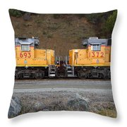 Union Pacific Locomotive Trains . 7D10573 Throw Pillow by Wingsdomain Art and Photography