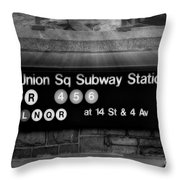 Union Square Subway Station Bw Throw Pillow by Susan Candelario
