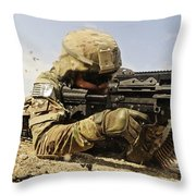 U.s. Air Force Soldier Fires The Mk48 Throw Pillow by Stocktrek Images