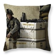 U.s. Army Soldier Relaxing Before Going Throw Pillow by Stocktrek Images