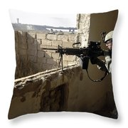 U.s. Army Soldier Searching Throw Pillow by Stocktrek Images