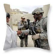 U.s. Army Soldier Shakes Hands With An Throw Pillow by Stocktrek Images