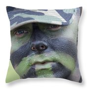 U.s. Army Soldier Wearing Camouflage Throw Pillow by Stocktrek Images