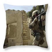 U.s. Army Soldiers Reacting To Small Throw Pillow by Stocktrek Images