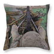 U.s. Marine Fires An M2 .50-caliber Throw Pillow by Stocktrek Images