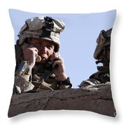 U.s. Marine Gives Directions To Units Throw Pillow by Stocktrek Images