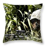 U.s. Marine Maintains Security Throw Pillow by Stocktrek Images