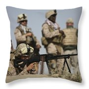 U.s. Marine Prepares To Fire A Pk Throw Pillow by Terry Moore