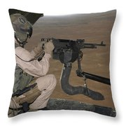 U.s. Marine Test Firing An M240 Heavy Throw Pillow by Stocktrek Images