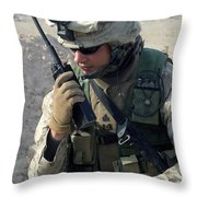 U.s. Marine Uses A Mbitr Anprc-148 Throw Pillow by Stocktrek Images