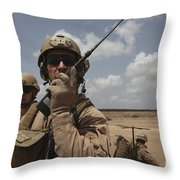 U.s. Marine Uses A Radio In Djibouti Throw Pillow by Stocktrek Images
