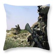 U.s. Marine Uses A Radio Throw Pillow by Stocktrek Images