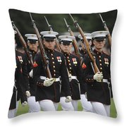 U.s. Marines March By During The Pass Throw Pillow by Stocktrek Images