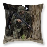 U.s. Marines Prepare To Enter A House Throw Pillow by Stocktrek Images