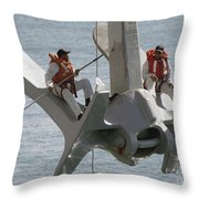 U.s. Navy Servicemen Apply A Coat Throw Pillow by Stocktrek Images
