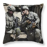 U.s. Soldiers Coordinate Security Throw Pillow by Stocktrek Images