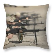 U.s. Soldiers Firing Pk 7.62 Mm Throw Pillow by Terry Moore