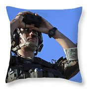 U.s. Special Operations Soldier Looks Throw Pillow by Stocktrek Images