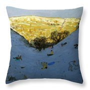 Valley And Sunlit Hillside Throw Pillow by Andrew Macara