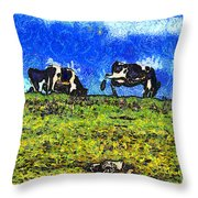 Van Gogh Goes Cow Tipping 7d3290 Throw Pillow by Wingsdomain Art and Photography