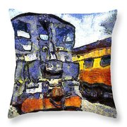 Van Gogh.s Locomotive . 7d11588 Throw Pillow by Wingsdomain Art and Photography