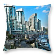 Vancouver Harbour Throw Pillow by Kamil Swiatek