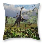 Velociraptor Dinosaurs Attack Throw Pillow by Mark Stevenson