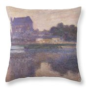 Vernon Church in Fog Throw Pillow by Claude Monet