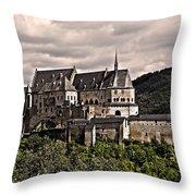 Vianden Castle - Luxembourg Throw Pillow by Juergen Weiss