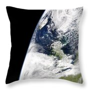 View Of Earth From Space Showing Throw Pillow by Stocktrek Images