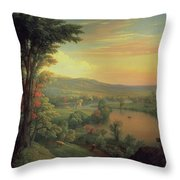 View Of The Mohawk Near Little Falls Throw Pillow by Mannevillette Elihu Dearing Brown