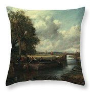 View Of The Stour Near Dedham Throw Pillow by John Constable