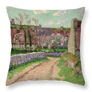 Village In Clohars Throw Pillow by Henry Moret