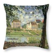 Villeneuve La Garenne Throw Pillow by Alfred Sisley