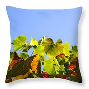 Vineyard Leaves Throw Pillow by Carlos Caetano