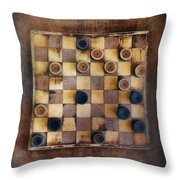 Vintage Checkers Game Throw Pillow by Jill Battaglia