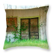 Vintage Gas Station In Springtime  Throw Pillow by Connie Fox
