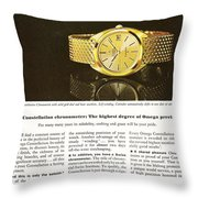Vintage Omega Watch Throw Pillow by Nomad Art And  Design
