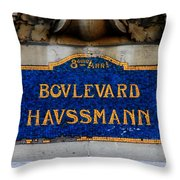 Vintage Paris Street Sign Throw Pillow by Andrew Fare