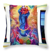 Virgin Mary Mural Throw Pillow by Mariola Bitner