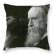 Virginia Woolf With Her Father Throw Pillow by Photo Researchers