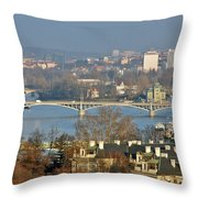 Vltava river in Prague - Tricky laziness Throw Pillow by Christine Till