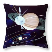 Voyager Saturn Flyby Artwork Throw Pillow by Science Source