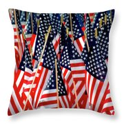 Wall Of Us Flags Throw Pillow by Carolyn Marshall