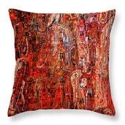 Warm Meets Cool - Abstract Art Throw Pillow by Carol Groenen
