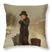 Warming His Hands Throw Pillow by Henry Bacon