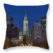 Washington Monument and City Hall Throw Pillow by John Greim