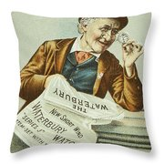 Watch Trade Card, C1880 Throw Pillow by Granger