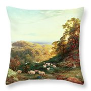 Watching The Flock Throw Pillow by George Vicat Cole