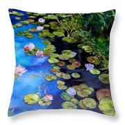 Water Lilies On Blue Throw Pillow by Diane Kraudelt